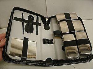 Vintage Western Germany Ground Leather Chrome Vanity Travel Kit