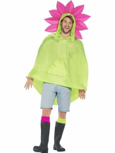 Men/'s Flower Showerproof Poncho Fancy Dress Glastonbury Festival Stag Fun Theme