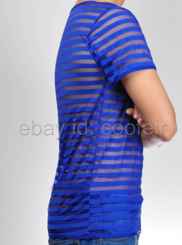 Upgraded Men/'s Sheer Mesh Striped Undershirt Organza T-Shirt Top Muscle Shirt