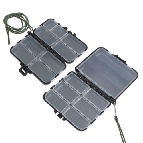 Portable Double Sided ABS Lure Bait Storage Box Fishing Tackle w// String #8Y