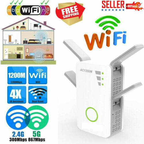 1200Mbps WiFi Range Extender Repeater Wireless Amplifiers Router Signal Booster