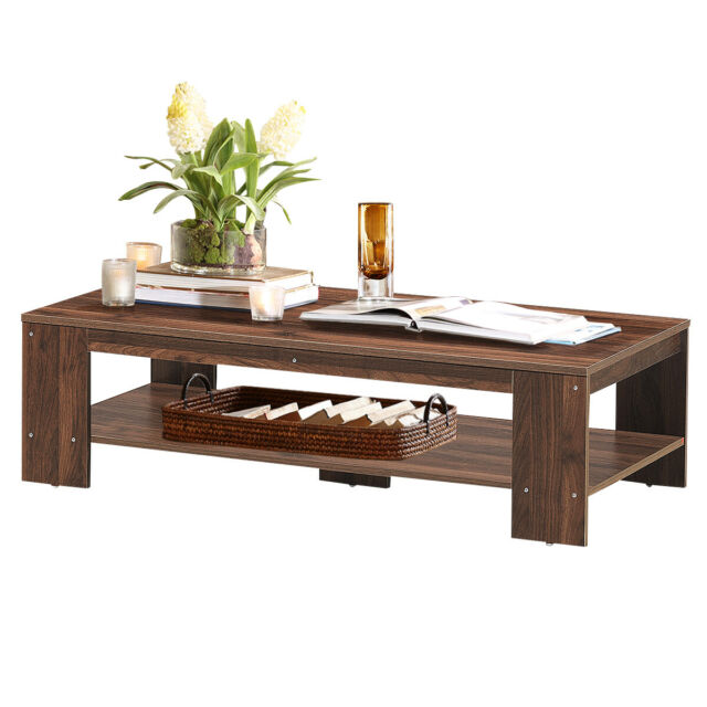 Wood Coffee Tea Table Desk Living Rest Room Table Home Office Furniture w/ Shelf
