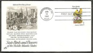 US-SC-1982-State-Birds-And-Flowers-New-Jersey-FDC-Artcraft-Cachet