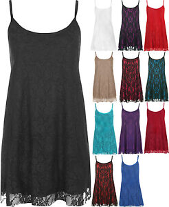 478f70f1d0b Womens Plus Size Floral Lace Lined Strappy Camisole Sleeveless ...