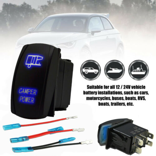 Blue Laser Etched LED CAMPER POWER 12V//10A 5 pin Rocker Toggle Switch Car Boat