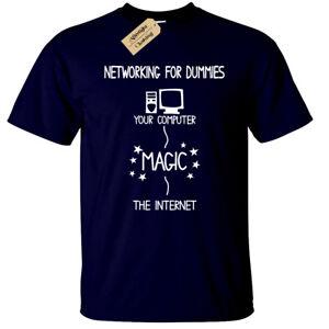NETWORKING-FOR-DUMMIES-T-Shirt-Mens-funny-geek-nerd-it-computer-gift-programmer