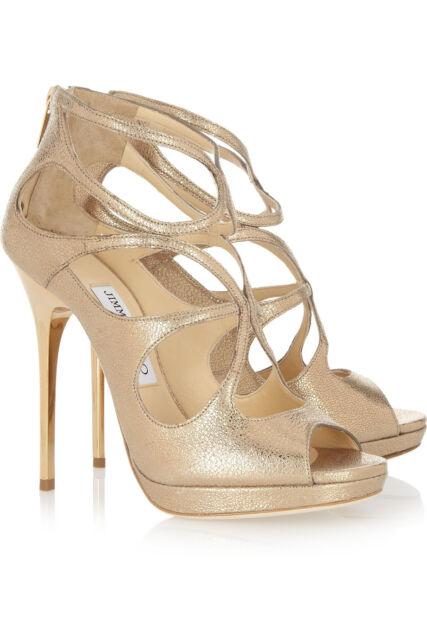 dc48f53870c Jimmy Choo LOILA Strappy Platform Sandal Shoes Gold Metallic Suede Heels  9.5 - 9