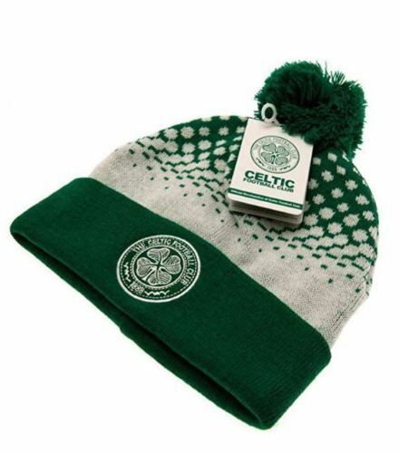 Celtic Colours Green and White Traditional Style Bobble Hat