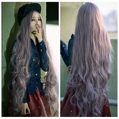 100cm Long Women's Lady Curly Wavy Hair Full Wigs Lolita Cosplay + Wig Cap