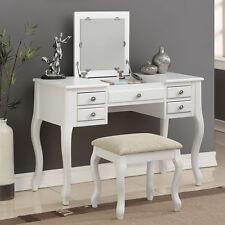 Elegant Bedroom Makeup Vanity Table Flip Up Mirror Drawers Queen Anne Leg White