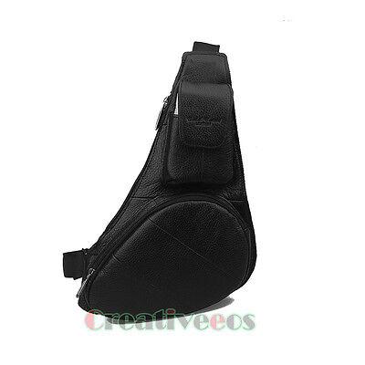 Men Genuine Leather Shoulder Cross body Messenger Back pack Sling Chest Bag