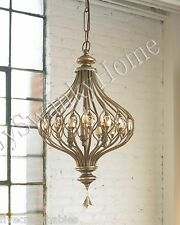 "16"" HORCHOW Jeweled HANGING PENDANT Chandelier Light Unique Shaped Gold Amber"