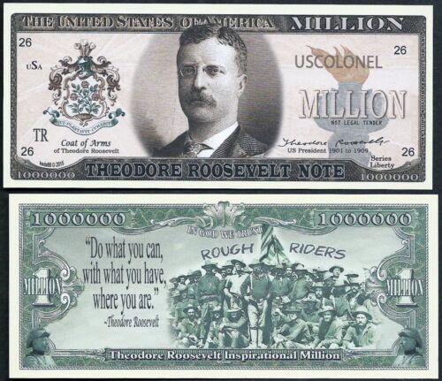 Lot of 25 BILLS Teddy Roosevelt Million Dollar Note w Rough Riders Theodore