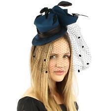 Fancy Wool Satin Veil Feathers Cloche Headband Fascinator Cocktail Hat Cap Teal