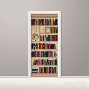 Bookshelf wallpaper door mural art globe photo poster wall for Bookshelf mural wallpaper