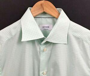 ETON Contemporary Men's Green/White Check Dress Shirt sz 16 x 32/33 ( L Large )
