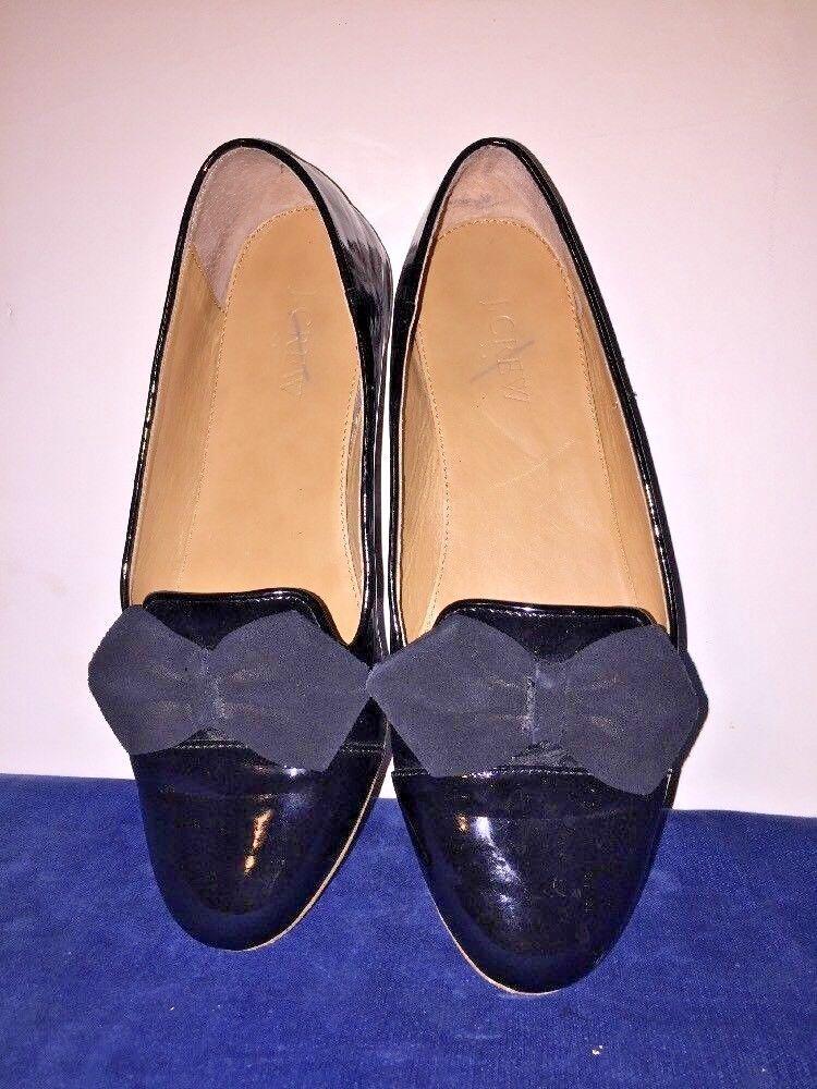 J J J CREW Black Patent Leather Ballet Flats & Velvet Bow Loafers Womens shoes Sz 8 1edbf1