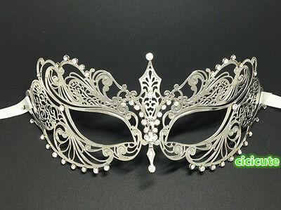 Elegant Silver Metal Filigree Venetian Masquerade Halloween Mask w/Rhinestones