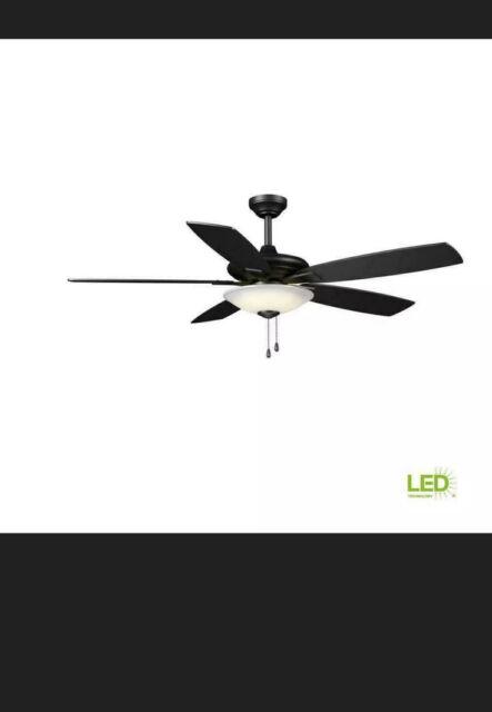 Hampton Bay Menage 52 in. Int LED Indoor Low Profile M.Black Ceiling Fan w/Light