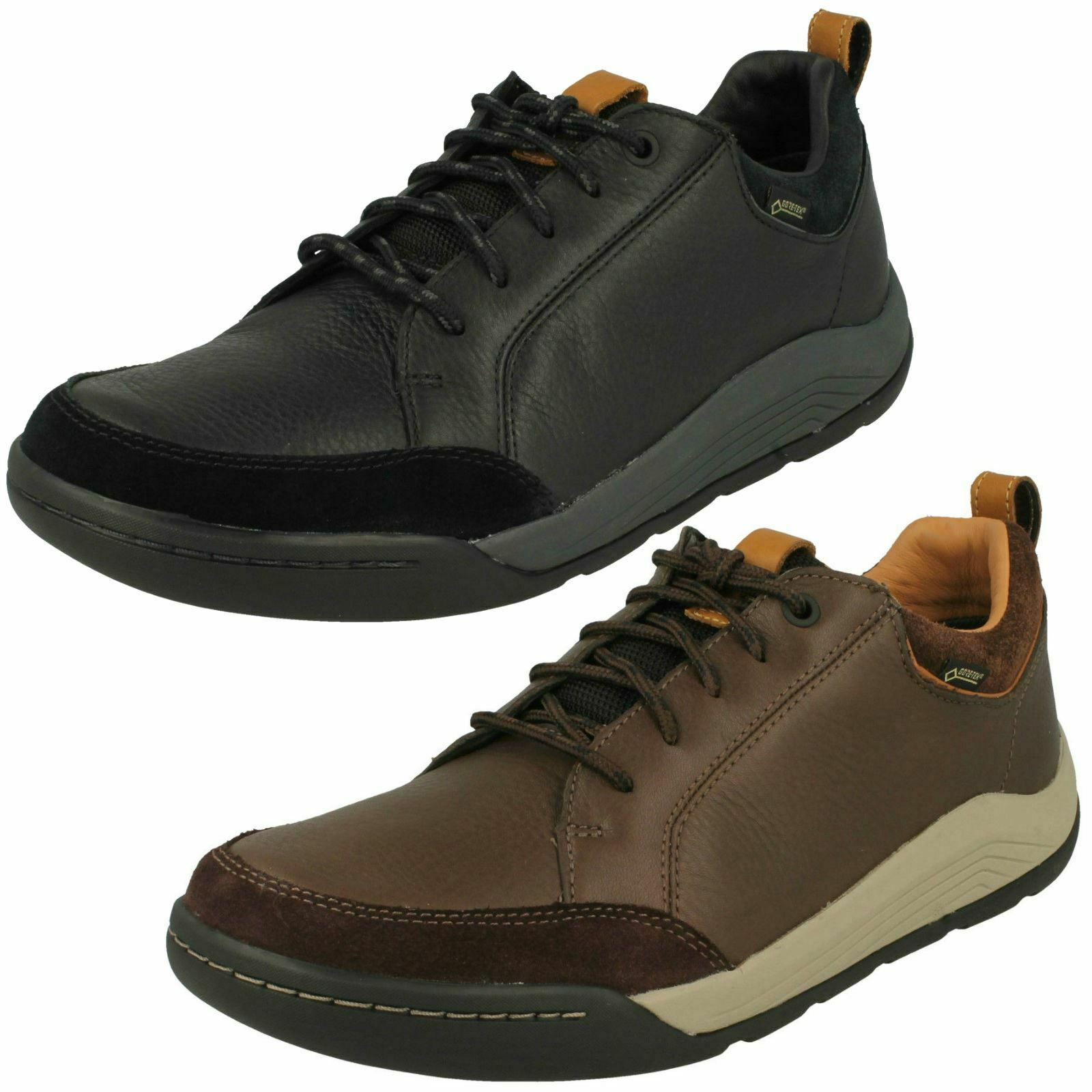 Mens Clarks Casual Lace Up Leather & Textile Gore-Tex shoes Ashcombe Bay GTX