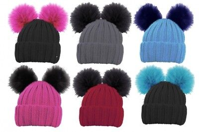 Girls Ski Beanie Hat With 2 Large Faux Fur Pom Pom/'s Childrens Knitted Warm hot