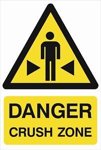 Danger Crush Zone A5/a4/a3 Autocollant Ou Foamex-site Signe-h&s Signe-weatherproof-afficher Le Titre D'origine Wpb8kopm-07225441-785167495