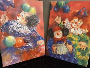 2x-Olbild-Clowns-mit-Ballon-Bilderpaar-Ute-Mertens-Kopien-Ol-auf-Leinwand-L