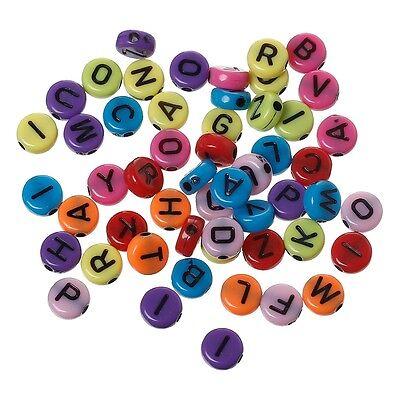 50-100 ou 200 Perle 7mm Mixte Ecriture Noir Acrylique Lettre Alphabet Ronde
