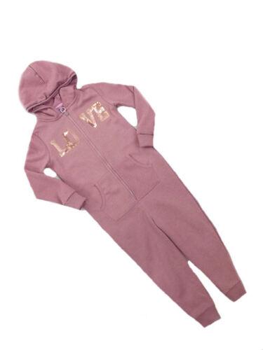 F/&F RAGAZZE amore rosa scuro con Lustrini con cappuccio Onezee All in One Età 2 3 4 5 6 7 vendita