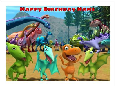 Awesome Dinosaur Train Edible Cake Topper Icing Image Birthday Party Personalised Birthday Cards Veneteletsinfo