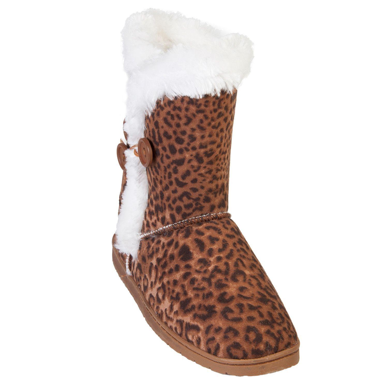 Women's DAWGS 9  3-Button Microfiber Boots Leopard Size 11  NC7DQ-M18