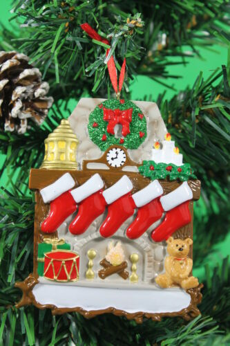 PERSONALISED CHRISTMAS TREE DECORATION  ORNAMENT FIREPLACE FAMILY OF 5 GIFT