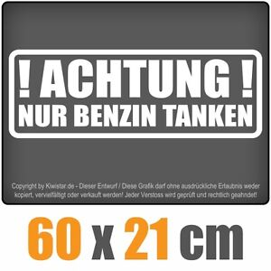 CUIDADO-Solo-Gasolina-repostar-chf0262-blanco-60-x-21cm-Pegatina-trasera