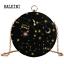 Round-Shape-Night-Sky-Stars-Velvet-Evening-Blue-Party-Clutch-Crossbody-Purse miniature 11