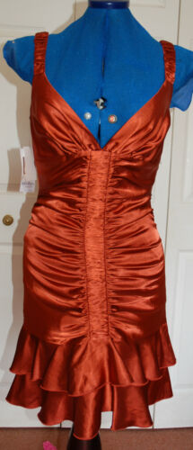 10 Dress Satin Ruched Lined Sz Flapper Dance Copper New Orange 8 Strictly Party qwn74gCBEx
