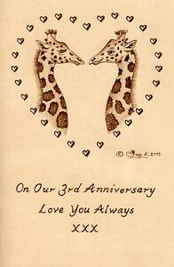Personalised-Giraffes-3rd-Wedding-Anniversary-6-034-x-4-034-Leather-Artwork