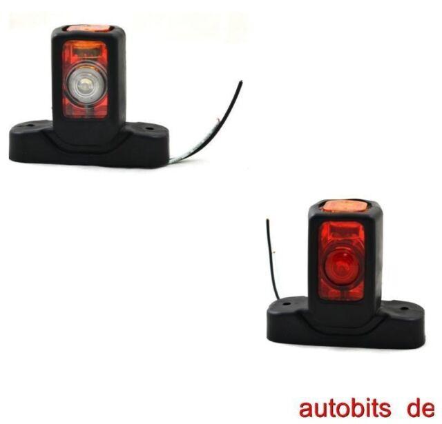 2 x LED LKW Begrenzungsleuchten 12V Positionsleuchten Anhänger Gelb Rot Weiß Neu