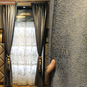 Details About Italian Velvet Living Room Grey Thick Cloth Blackout Curtain D Panel B540