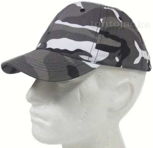 URBAN CAMO Camouflage Baseball Peaked Peak Cap Sun Hat Black White Mens Mans
