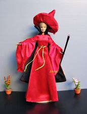 Witch Outfit Hallowen Fancy Handmade Costume for Barbie Dolls Dress up Red-Black