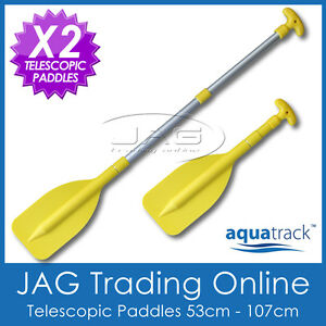 2 x AQUATRACK MINI YELLOW TELESCOPIC OARS PADDLES - Boat/Inflatable/Canoe/PWC
