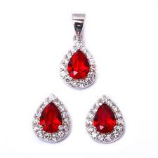 Pear Shape Deep Garnet & Cz .925 Sterling Silver Earring & Pendant Jewelry set