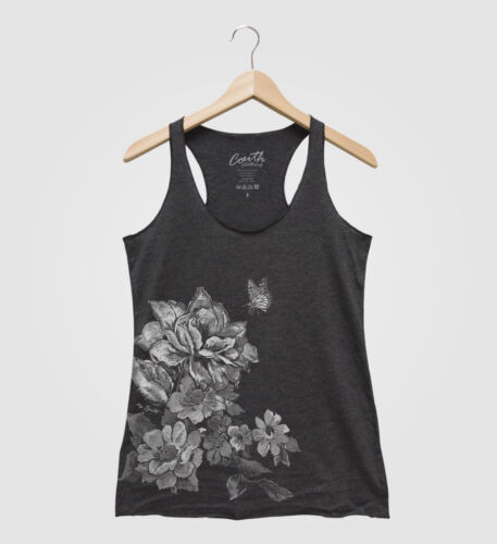 FLOWERS Woman Tank Top Racerback Hand Screen Print Mother/'s Day Grandma For Her