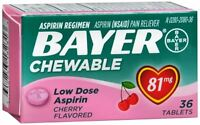 Bayer Chewable Low Dose 'baby' Aspirin 81 Mg Tablets Cherry 36 Tablets (7 Pack) on sale