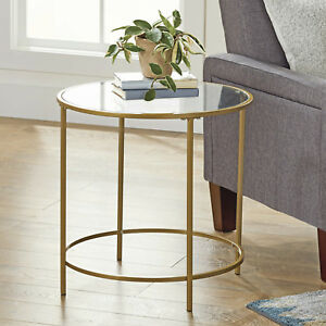 Round Gl Side Table Metal Gold Frame