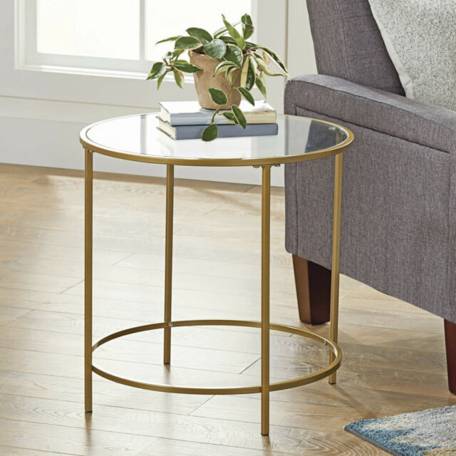 Round Glass Side Table Metal Gold Frame End Bedside Tables Accent Living  Room
