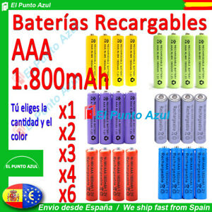 Pilas-AAA-Recargables-1800-mAh-1-2-voltios-Rechargeable-Batteries-x1-x2-x3-x4-x6