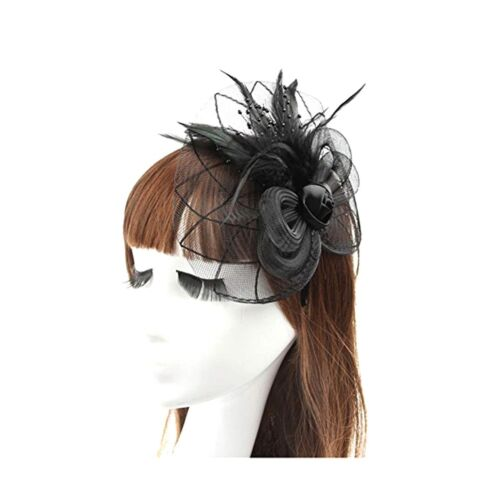 Black Big Flower Mesh Feather on Hair Clip Headwear Fascinator,Wedding Headwe...