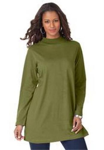 Women/'s Plus Size Lightweight Mock Neck Trapeze OVERSIZED Tunic in Moss Green