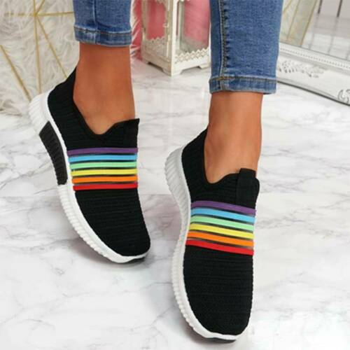 Women Lady Breathable Slip On Rainbow Sneaker Trainer Casual Sports Shoes Size